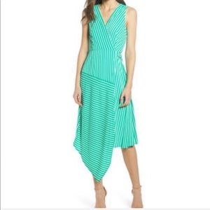 Charles Henry Green Striped Wrap midid dress